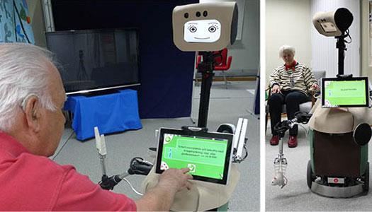 Roboten Hobbit hjälper äldre hemma. Man kommunicerar med den genom att prata eller skriver på skärmen.