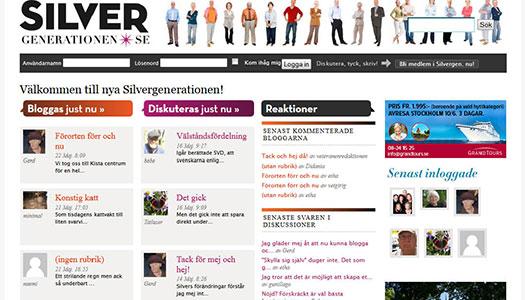 På Silvergenerationen, ett forum för 55+, kan du blogga och diskutera