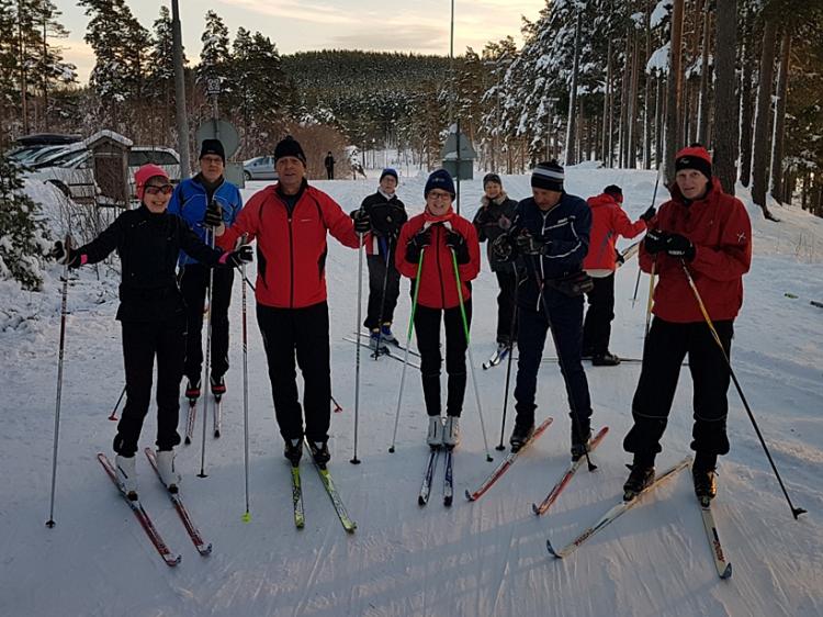 Första skidåkningen för säsongen i Falun