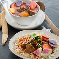 persisk rotfruktsgryta med kött, recept