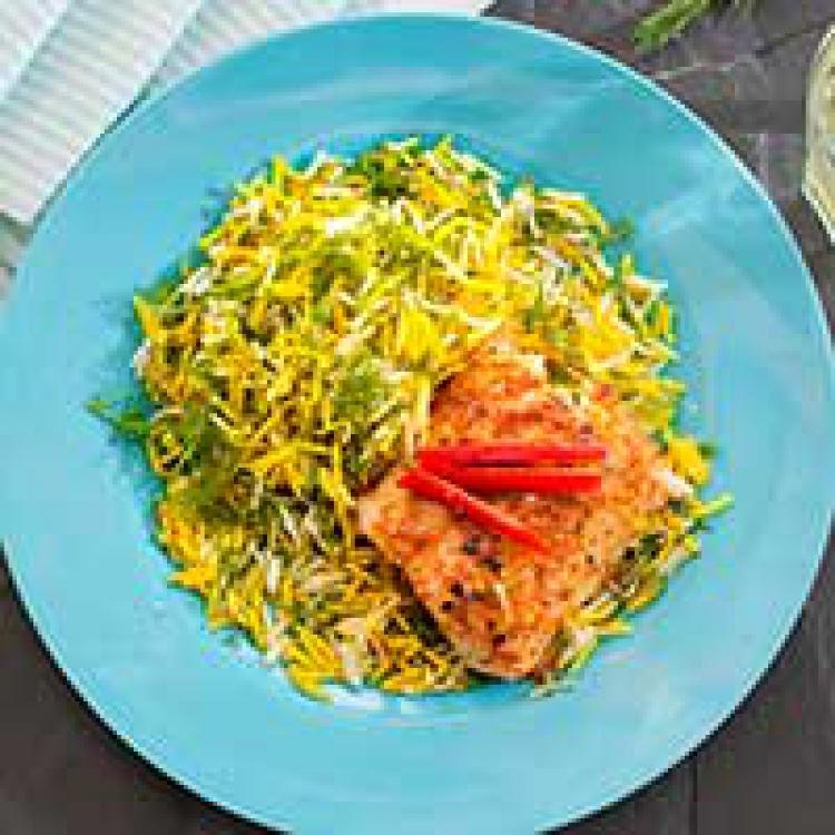 Smörstekt torskrygg på persiskt vis