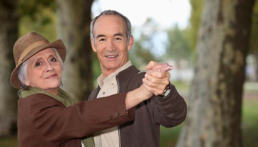 senior couple on a romantic walk