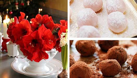 Julkänsla med blommor och choklad