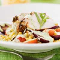 recept, vitlöksmarinerad kyckling med saffranscouscous och krämig dragonsås