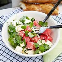Sallad med vattenmelon och fetaost