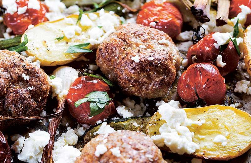 Lammfärs och grönsaker i ugn
