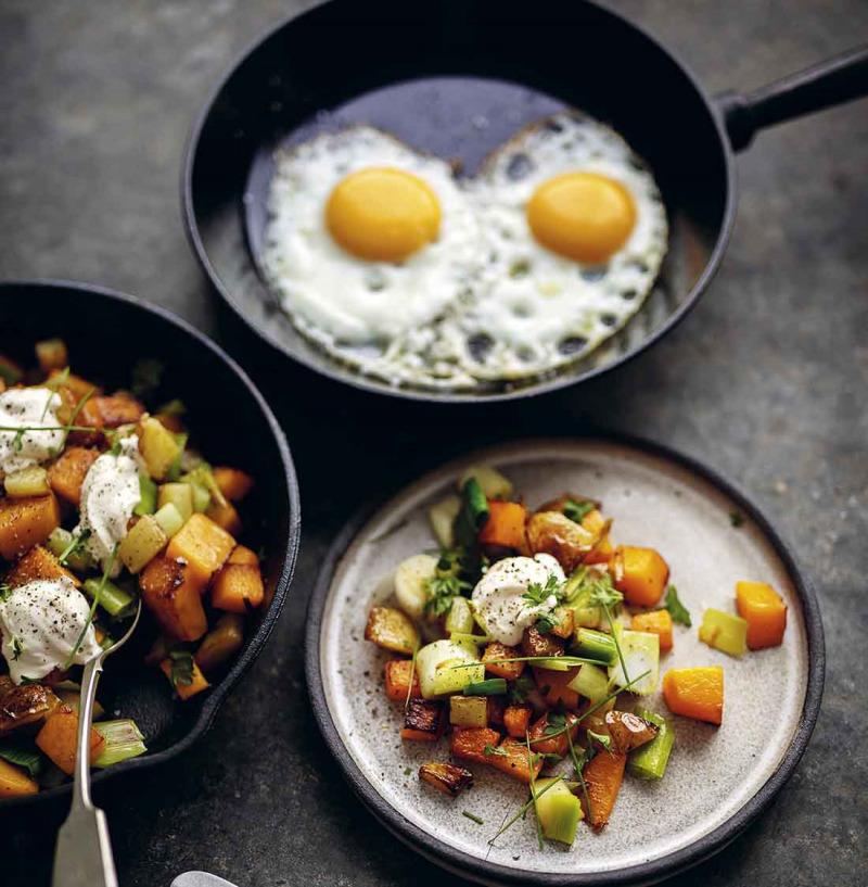 Pytt med purjo, pumpa och ägg