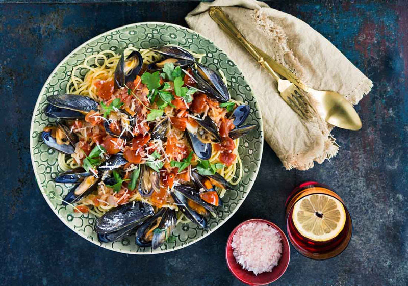 Spagetti med musslor och vitlök